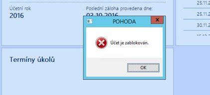 Zablokován přístup doprogramu POHODA