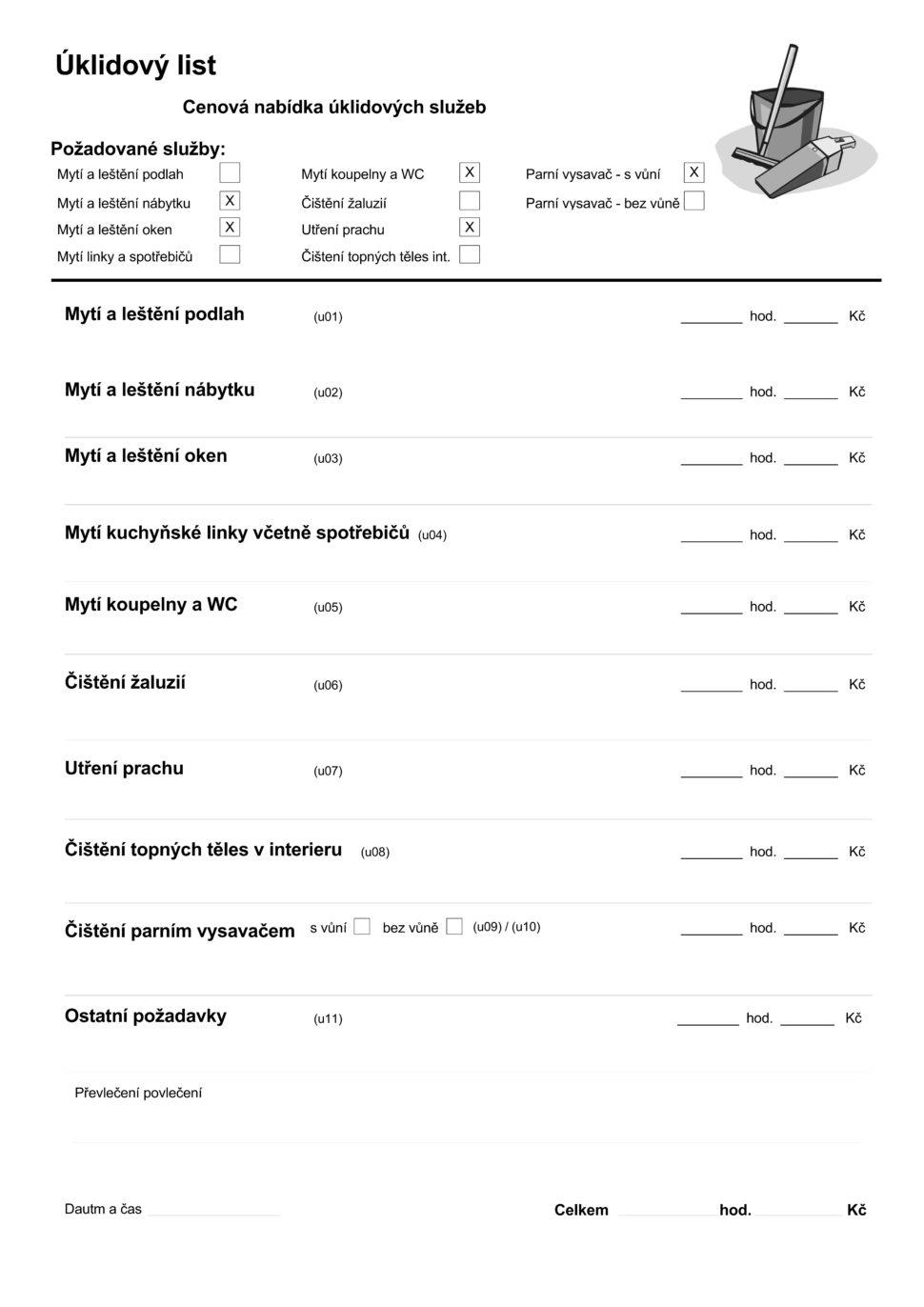 Zakázkový list tisková sestava - Uživatelská agenda systému POHODA E1