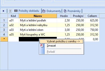 Servisní list tisková sestava systému POHODA E1