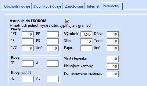 Hodnoty pro výkaz EKO-KOM